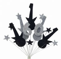 Rock guitar 60th birthday cake topper decoration in black and silver - free postage